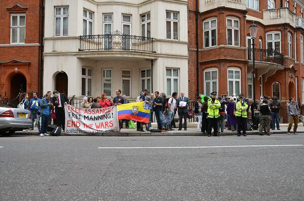 JULIAN Ecuador Embassy crowd 22nd June 2013